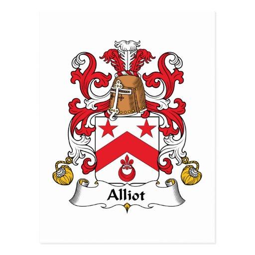 Escudo de la familia de Alliot Tarjetas Postales