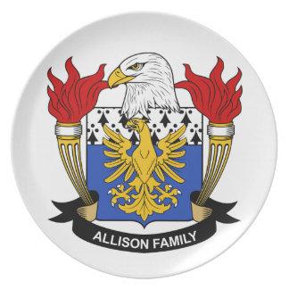 Escudo de la familia de Allison Plato De Comida