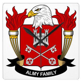 Escudo de la familia de Almy Reloj Cuadrado