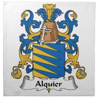 Escudo de la familia de Alquier Servilleta Imprimida