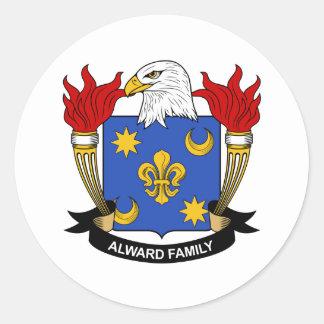 Escudo de la familia de Alward Pegatina Redonda