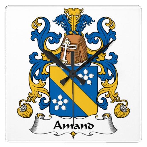 Escudo de la familia de Amand Reloj Cuadrado