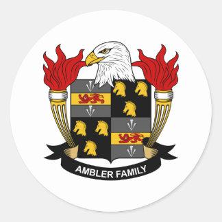 Escudo de la familia de Ambler Etiquetas Redondas