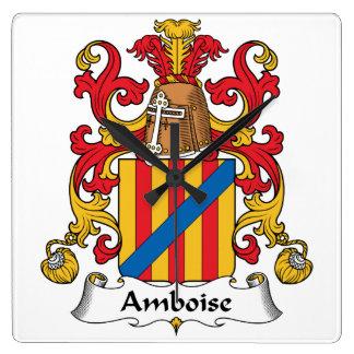 Escudo de la familia de Amboise Reloj Cuadrado