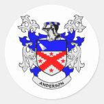Escudo de la familia de Anderson Pegatina Redonda