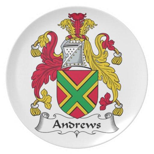 Escudo de la familia de Andrews Platos De Comidas
