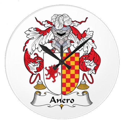 Escudo de la familia de Anero Reloj De Pared