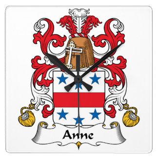 Escudo de la familia de Anne Reloj De Pared
