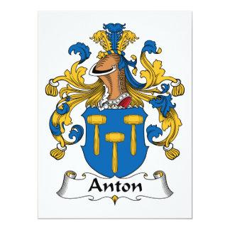 """Escudo de la familia de Antón Invitación 6.5"""" X 8.75"""""""
