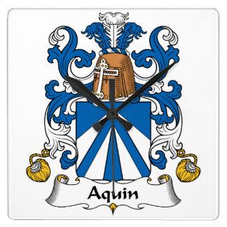 Escudo de la familia de Aquin Reloj De Pared