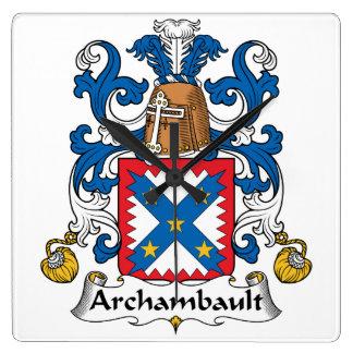 Escudo de la familia de Archambault Reloj Cuadrado