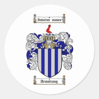 ESCUDO DE LA FAMILIA DE ARMSTRONG - ESCUDO DE PEGATINA REDONDA