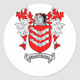 Escudo de la familia de ARMSTRONG Etiquetas Redondas