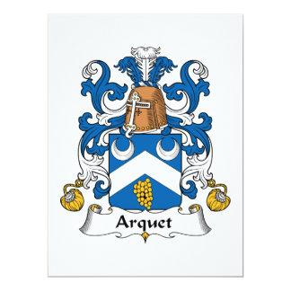 Escudo de la familia de Arquet Invitación 16,5 X 22,2 Cm