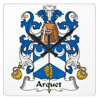 Escudo de la familia de Arquet Reloj Cuadrado