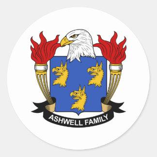 Escudo de la familia de Ashwell Pegatina Redonda