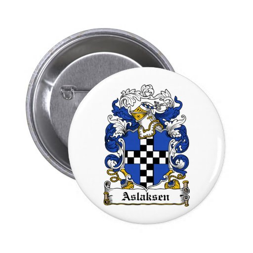 Escudo de la familia de Aslaksen Pin Redondo 5 Cm