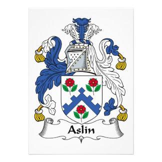 Escudo de la familia de Aslin Invitación Personalizada