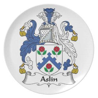 Escudo de la familia de Aslin Plato De Cena