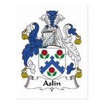 Escudo de la familia de Aslin Tarjeta Postal