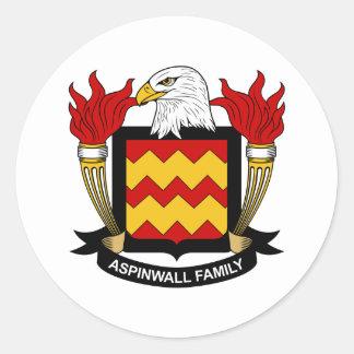 Escudo de la familia de Aspinwall Pegatinas Redondas