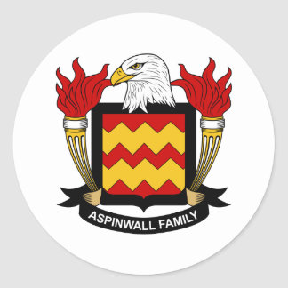 Escudo de la familia de Aspinwall Pegatina Redonda