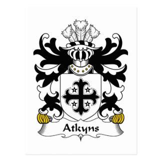 Escudo de la familia de Atkyns Tarjeta Postal