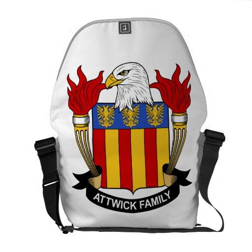 Escudo de la familia de Attwick Bolsas Messenger