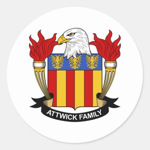 Escudo de la familia de Attwick Pegatina Redonda