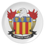Escudo de la familia de Attwick Platos Para Fiestas