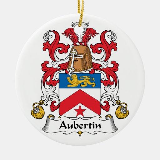 Escudo de la familia de Aubertin Adorno Redondo De Cerámica
