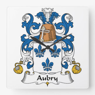 Escudo de la familia de Aubry Reloj Cuadrado
