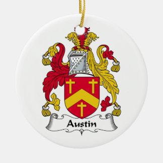 Escudo de la familia de Austin Adorno Navideño Redondo De Cerámica