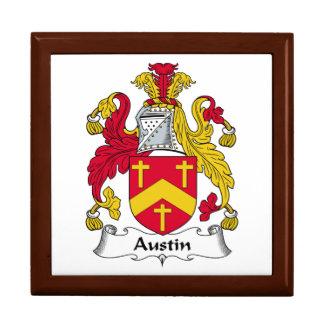 Escudo de la familia de Austin Joyero Cuadrado Grande