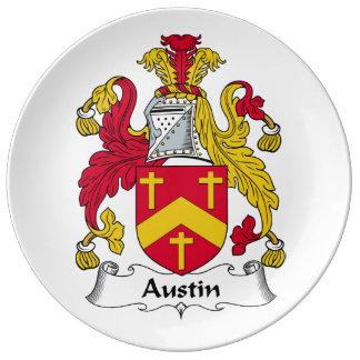 Escudo de la familia de Austin Plato De Cerámica