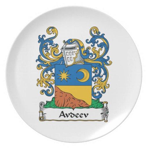 Escudo de la familia de Avdeev Platos De Comidas