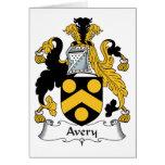 Escudo de la familia de Avery Tarjeta