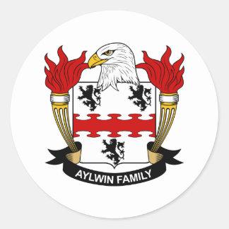 Escudo de la familia de Aylwin Etiquetas Redondas