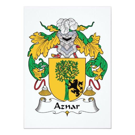 Escudo de la familia de Aznar Invitación 12,7 X 17,8 Cm