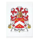 Escudo de la familia de Bachelier Invitación 16,5 X 22,2 Cm