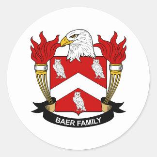 Escudo de la familia de Baer Pegatina Redonda