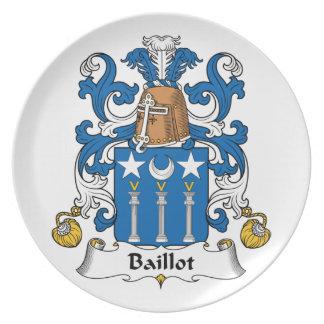 Escudo de la familia de Baillot Plato De Cena