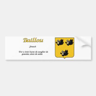 Escudo de la familia de Baillou y pegatina de la d Etiqueta De Parachoque