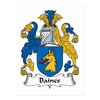 Escudo de la familia de Baines Tarjeta Postal