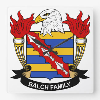 Escudo de la familia de Balch Reloj Cuadrado