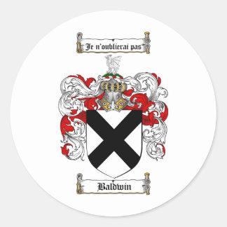 ESCUDO DE LA FAMILIA DE BALDWIN - ESCUDO DE ARMAS PEGATINA REDONDA