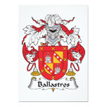 Escudo de la familia de Ballastros Invitación 12,7 X 17,8 Cm