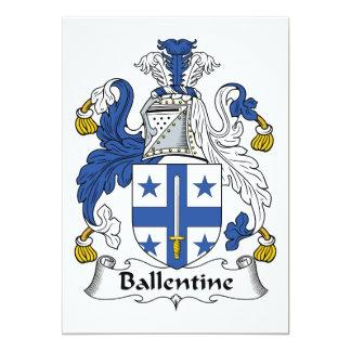 Escudo de la familia de Ballentine Invitación 12,7 X 17,8 Cm
