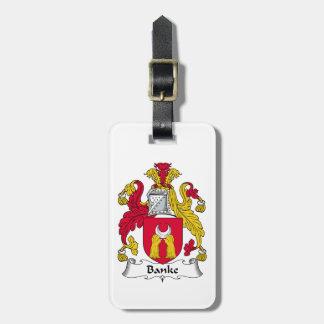 Escudo de la familia de Banke Etiqueta Para Equipaje