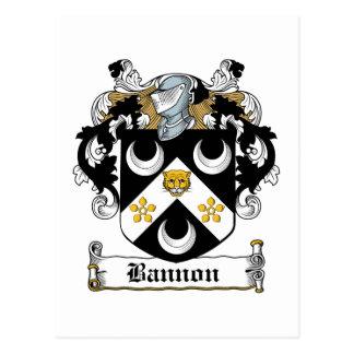 Escudo de la familia de Bannon Tarjeta Postal